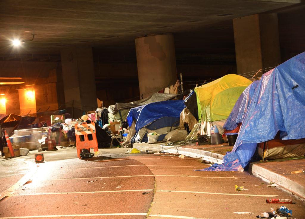 A homeless encampment under a freeway in San Francisco.