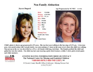 The age progression poster of Jaycee Dugard created by NCMEC forensic artist Joe Mullins, for public distribution.