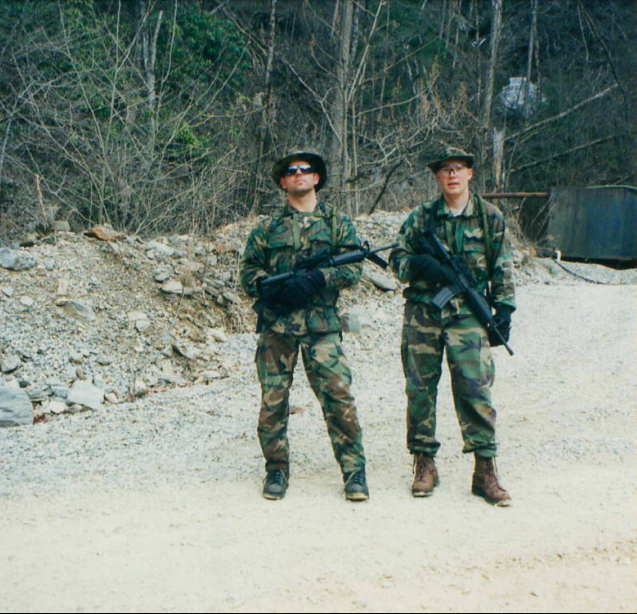 Jeff Muller, left, from his days days on the Chicago FBI SWAT team. He and fellow SWAT team member Kevin Cassidy, were in the mountains of North Carolina searching for Eric Rudolph, also known as the Olympic Park Bomber. Rudolph is an American domestic terrorist convicted for a series of anti-abortion and anti-gay-motivated bombings across the southern United States between 1996 and 1998. Photo courtesy Jeff Muller.