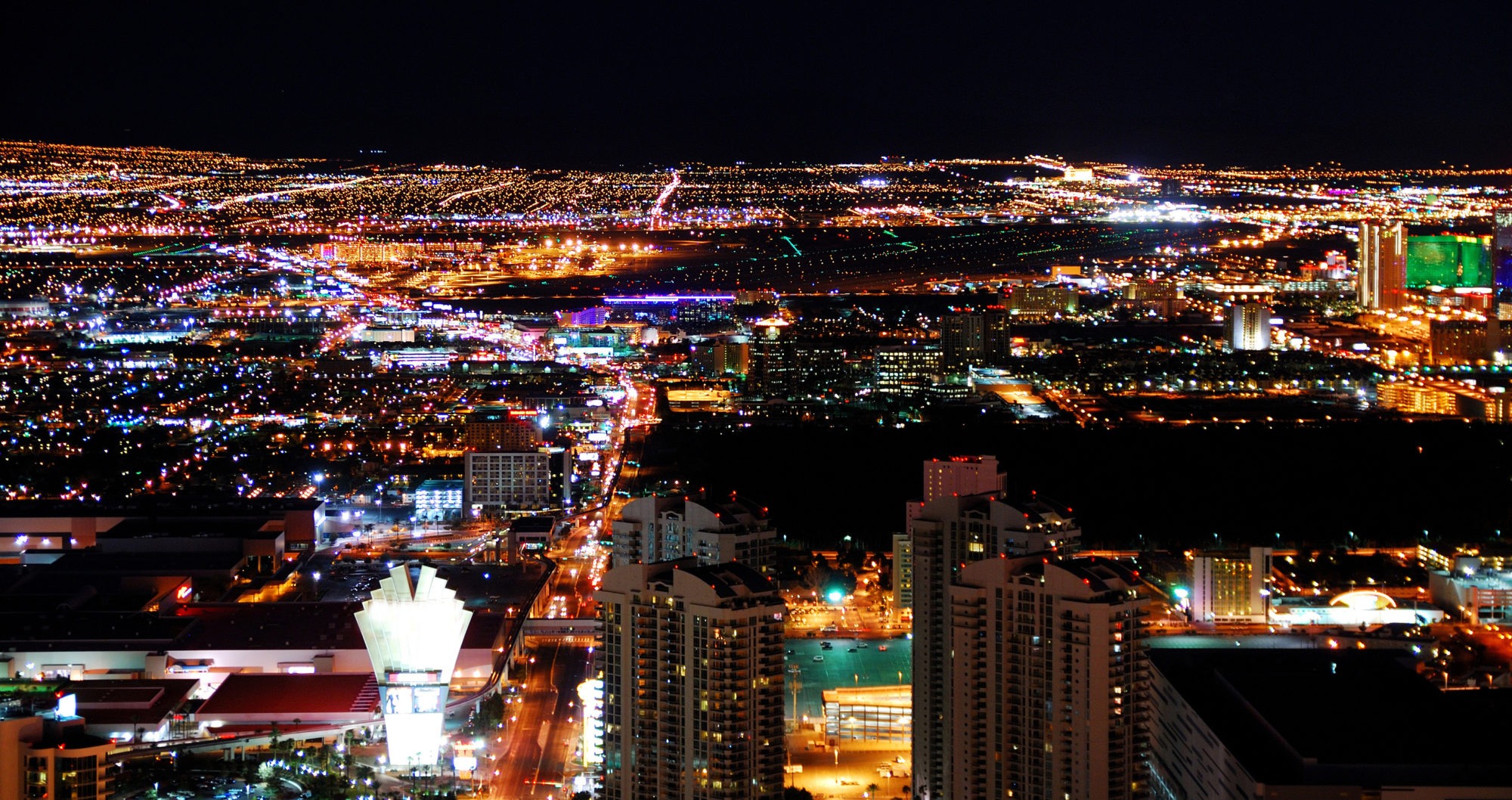 The Las Vegas City skyline -- a panoramic night view. Photo © Songquan Deng | Dreamstime.com