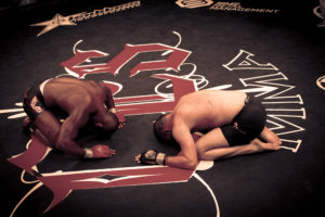 MMA Fighters John Doomsday Howard and Chris Cappi Woodall bow to each other after Howard beat Woodall in their match June 7, 2016 at Twin River Casino, Lincoln, RI. © Jerry Coli | Dreamstime.com