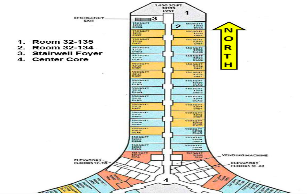 A diagrammatic representation of the 32nd Floor of the 100 Wing of the Mandalay Bay hotel, from where Paddock rained down death on innocent concertgoers. Graphic Courtesy: The publicly released LVMPD Criminal Investigative Report of the 1 October Mass Casualty Shooting.