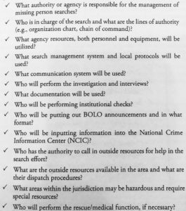 """What Goes Into Pre-Planning. Information Courtesy """"Urban Search: Managing Missing Person Searches in the Urban Environment,"""" by Christopher S. Young & John Wehbring"""