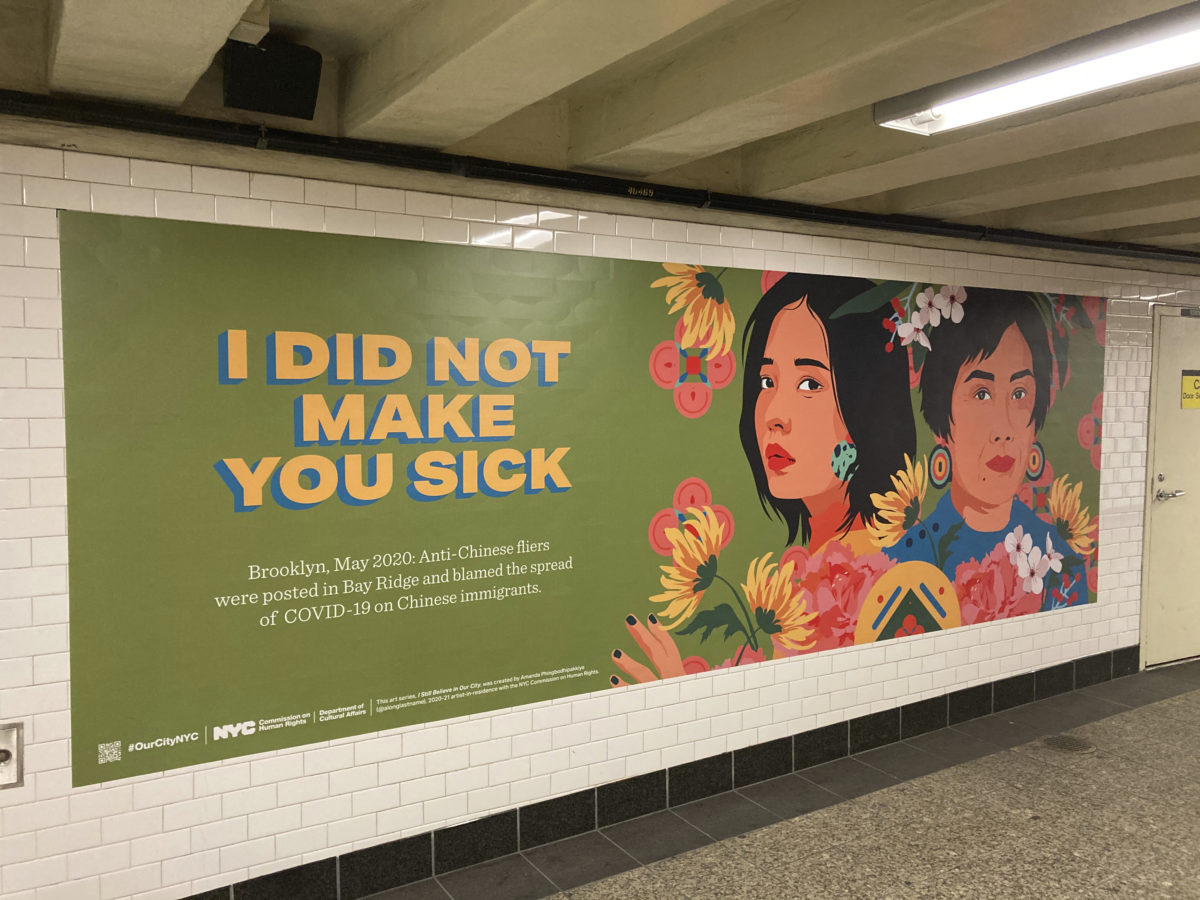 STAR MAX File Photo, via AP: A anti-racism poster is seen at the subway station at Barclays Center in Brooklyn, New York. As coronavirus cases have risen, there has also been a rise in acts of aggression against Asian Americans.