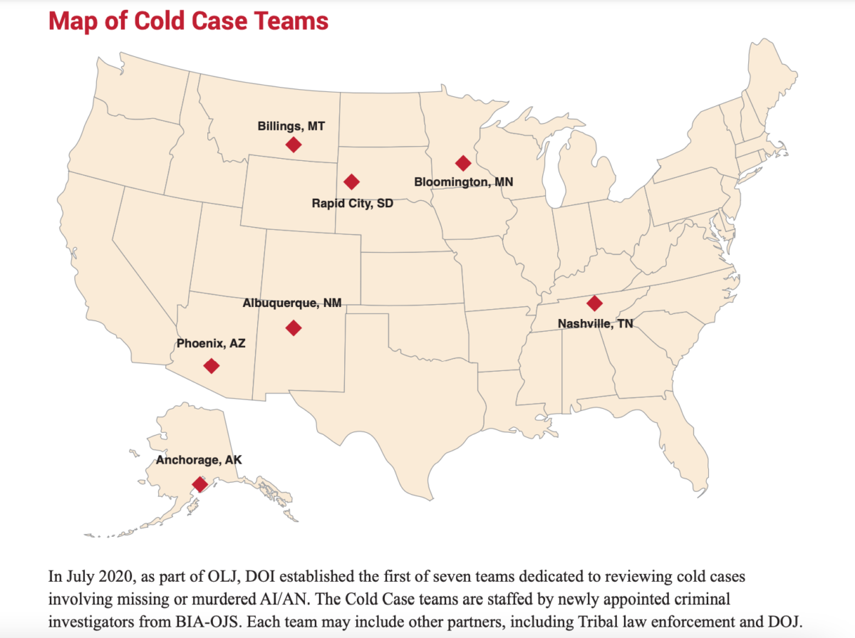 In July 2020, the Department of Justice established the first of seven cold case teams dedicated to reviewing cases related to missing and murdered American Indians and Alaska Natives. This is a map of the cities where they were established.