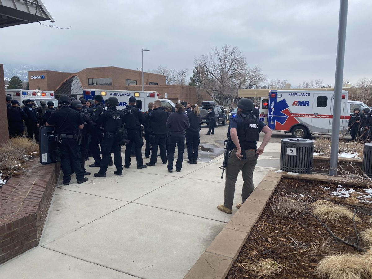 Image Source: Boulder Police Department's Twitter handle @boulderpolice depicting the scene around the area where a gunman opened fire in a supermarket on March 22, killing ten people including police officer Eric Talley.