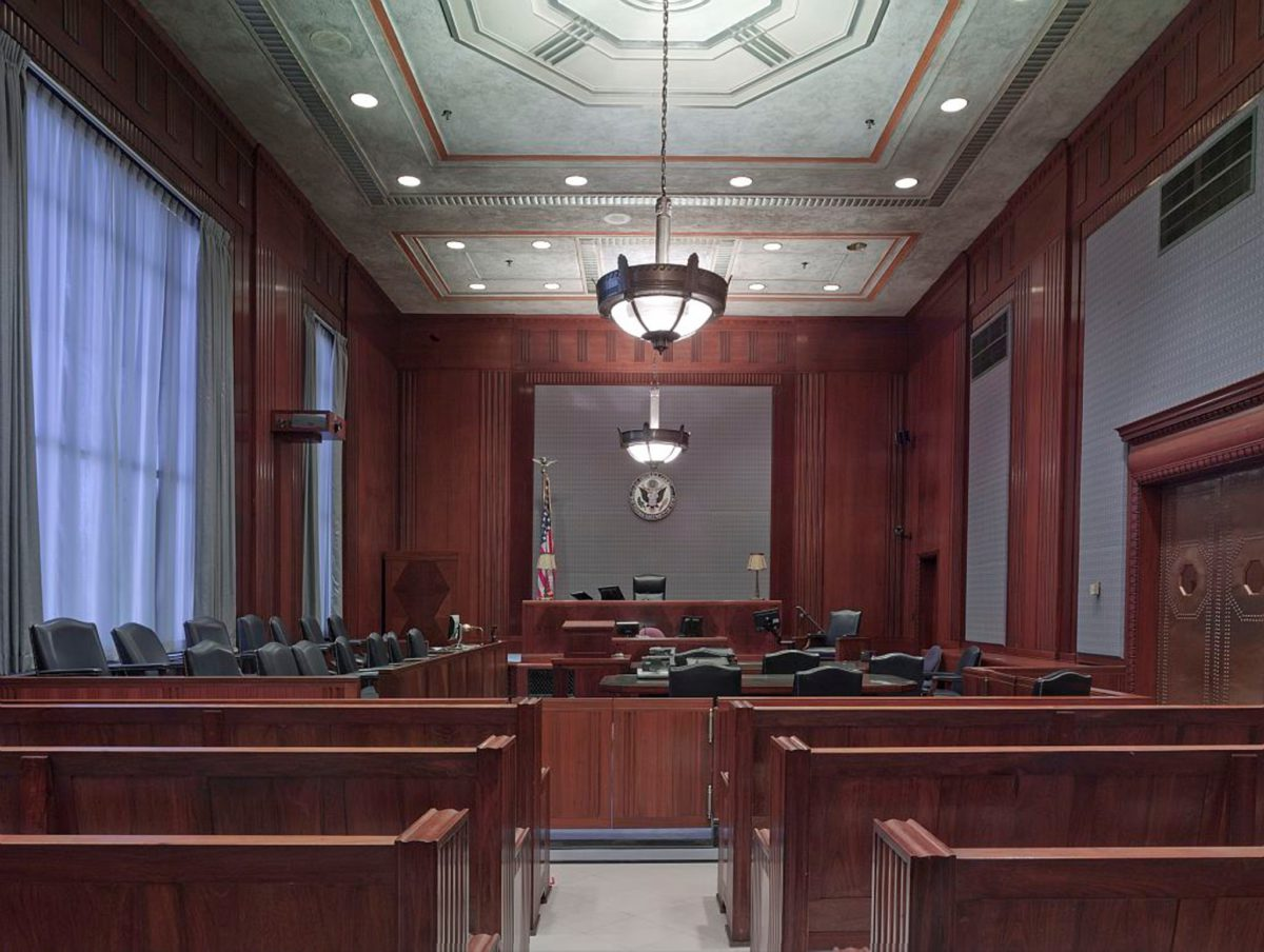 Representative image of an empty courtroom