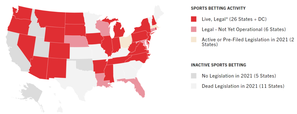 Map from the American Gaming Association showing the status of legalization of sports betting in the U.S. state-wise.